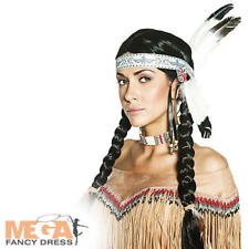 Native American Indian Wig Adults Fancy Dress Wild West Womens Costume Accessory