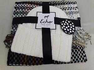 Echo Design Woven Fringe Scarf & Beanie Hat Winter Wear Gift Set Neutral #5802