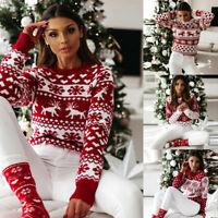 Women Long Sleece Xmas Christmas Jumper Tops Snowflake Sweater Pullover Knitwear