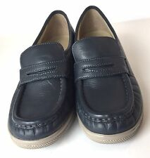 Womens Blue Leather Softspots Penny Loafers Size 9 Narrow Slip Ons