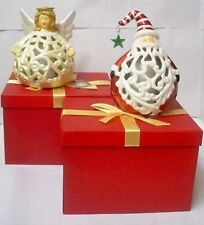 Qvc Angel and santa Flameless Candle Ceramic Luminaries with Timer in Gift Boxes