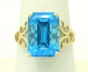 14K Yellow Gold 14x10mm Emerald Cut Blue Topaz Ring sz7.75 4.5 Grams M1562