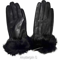 Women's Gloves Leather Gloves, Real fur Warm Lined Winter Dress Gloves NWT