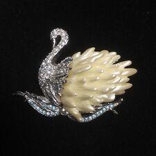 Nolan Miller Rhinestone Swan Brooch Pin Blue Waves Pearl Body Clear Pave Head