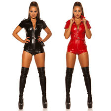 KouCla Leather Look Playsuit Jumpsuit With Zips Belted - Black Red