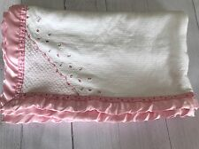Carters Rose Bud Embroidered Baby Blanket White Pink Satin Trim Pointelle