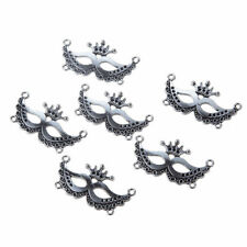 10X Vintage Silver Masquerade Mask Connector Charm 35*20MM DIY Necklace Bracelet