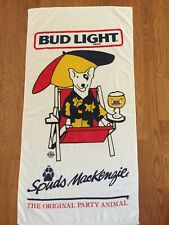 "Vtg 80s Spuds McKenzie Bud Light Beach Towel Original Party Animal 60x30"" Beer"