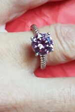 925 STERLING SILVER DIAMONIQUE AMETHYST SOLITAIRE RING SIZE K (013)
