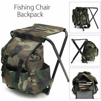 Foldable Fishing Chair Stool Travel Camping Hiking Multi-Function Backpack AU