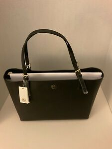 Tory Burch Large York Buckle Shoulder Tablet Tote BLACK Saffiano Leather Gold
