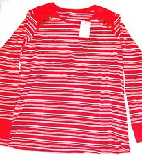 Next Striped Top red white cotton long sleeved Size 16 brand new with tags BNWT