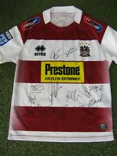 More details for wigan warriors rugby league shirt hand signed by 16 of 2021 squad