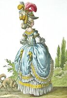 Art Print Rococo Court Dress Parasol Hat Bustle Fashion Plate 1778 Stocking