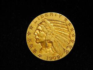 1909 $5.00 Indian Head Gold Half Eagle - XF+