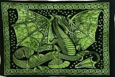 Mandala Tapestry Indian Wall Hanging Decor Bohemian Hippie Dragon Green Throw