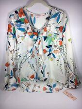 Nanette Lepore Vintage Print Ruffle Marshmallow Multi Long Sleeve Blouse S NWT