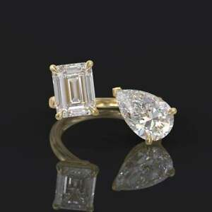 GLAMOROUS TWO STONE BYPASS WEDDING RING 14K YELLOW GOLD OVER 2.1 CT PEAR DIAMOND