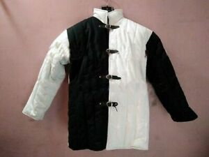 Medieval Armour Thick padded half Black and Half White Gambeson play movies