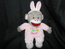 Baby Starter's Plush MY FIRST EASTER Pink Girl Bunny Sock Monkey RATTLE 10.5""