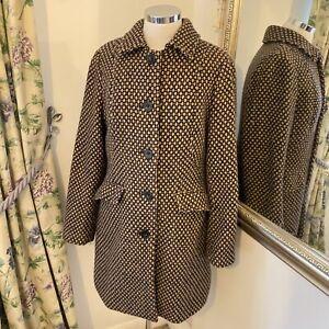 Noa noa XL 14 16 navy brown wool single breasted smart cosy winter jacket coat