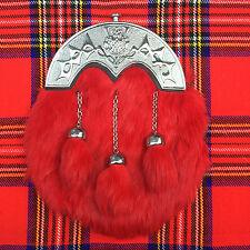 écossais KILT SPORRAN rouge lapin Fourrue CELTIQUE troussequin / Cantle / HOMMES