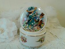 Trinket /Jewelry box with boy offering flowers to a girl Sadler England 1960's
