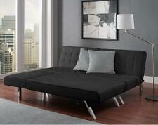 Black Faux Leather Futon Sofa Couch Bed Sleeper with Chaise Lounger Chic Modern