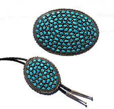 Sterling Silver Turquoise Navajo Large Belt Buckle & Bolo Tie - Native American