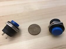 2 Pieces Blue small N/O Momentary 16mm push button Switch round 12v on off C18