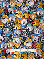 Kids Fabric - Drink Soda Pop Cans Toss Printed on Fabric Benartex #05632 - Yard