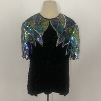 Lawrence Kazar Silk Sequin Beaded Black Top Womens Size XL Formal Cocktail Party