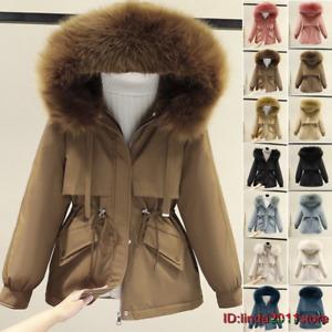 Women Faux Fur Hooded Outwear Fleece Lined Winter Multicolor Coat Jacket XS-3XL