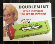 WRIGLEY'S DOUBLEMINT CHEWING GUM Australian Vintage Shop Display Sign RARE