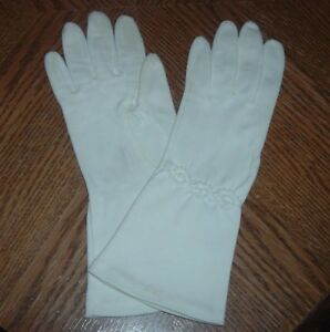 Vintage CRESCENDOE GLOVES Short IVORY All Cotton Leather Tailored Size 6 1/2