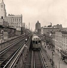 "1942 New York City, 10""x10"" vintage photo, Third Avenue elevated railway Train"
