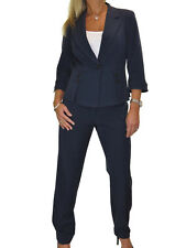 NEW Fully Lined Designer Look Business Office Trousers Suit Navy Blue 8-20