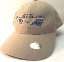 Nwt Superbowl Xxxviii Nfl Official Hat/Cap Patriots vs. Panthers Khaki One Size
