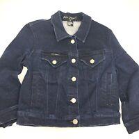 Betsey Johnson Denim Jeans Jacket Girls Medium M Dark Wash EUC