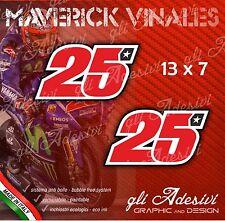 2 Adesivi Stickers Maverick VINALES 25 numero cupolino replica 13 x 7 cm
