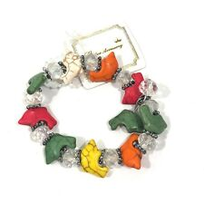 Dolphin Colorful Synthetic Turquoise Cuff Bracelet Bead Dangle Bracelet