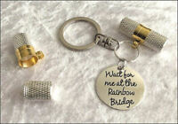 Pet Ashes Urn Jewellery Keyring - Rainbow Bridge Cremation Keepsake Necklace