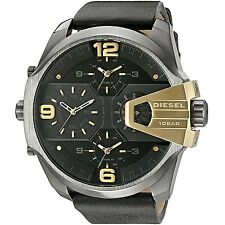 Diesel Original Men's Uber Chief Black Leather Strap Watch 55mm DZ7377