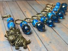 Handmade Cat Stitch Marker Set (SNAG FREE)- Set of 9 Blue Knitting Markers