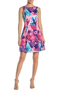 GUESS LADIES FLORAL COLORBLOCK STRAFFY FIT & FLARE DRESS, SIZE 8 MULTI, NWT $118