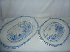 "2x Furnivals Quail Blue Oval Platters/Serving 13.5""x 10.5""+ 15.5""x12"" Vintage"
