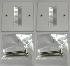 White Brush Stripe Cable Exit Single Gang wall Faceplate White Brushes Pack of 2