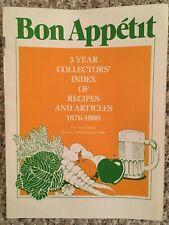 Rare Vintage Bon Appetit 1976-1980 Collectors Index of Recipes and Articles