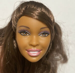 BARBIE DOLL HEAD ONLY FOR REPLACEMENT OR OOAK AA BROWN HAIR SHIMMER MAKEUP
