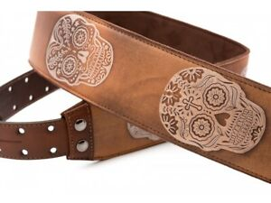 Sugar  Skull Tan Genuine Leather Guitar Strap by Right On Hand Made in Spain